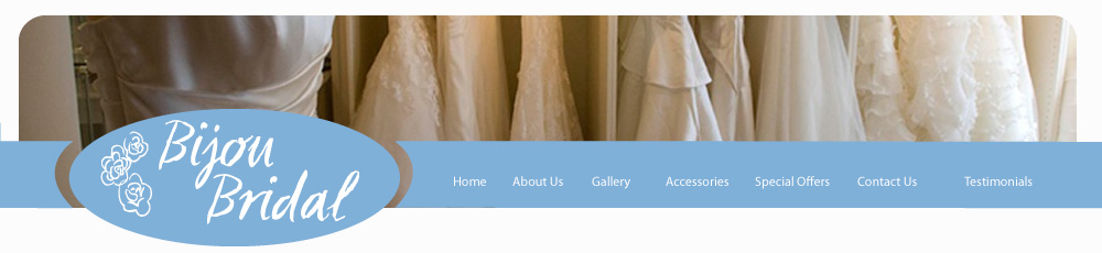 Page header photograph showing a selection of wedding dresses